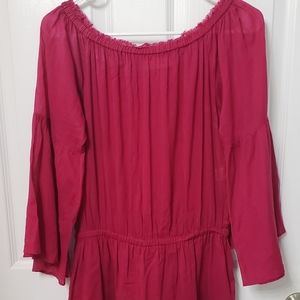 Tunic/swimsuit cover with bell sleeves